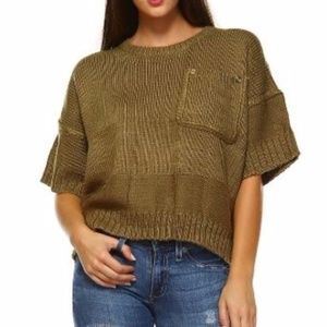 Short Sleeve Chunky Crewneck Crop Sweater  NWT